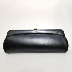 Vintage Black Long Snap Lock Clutch Purse